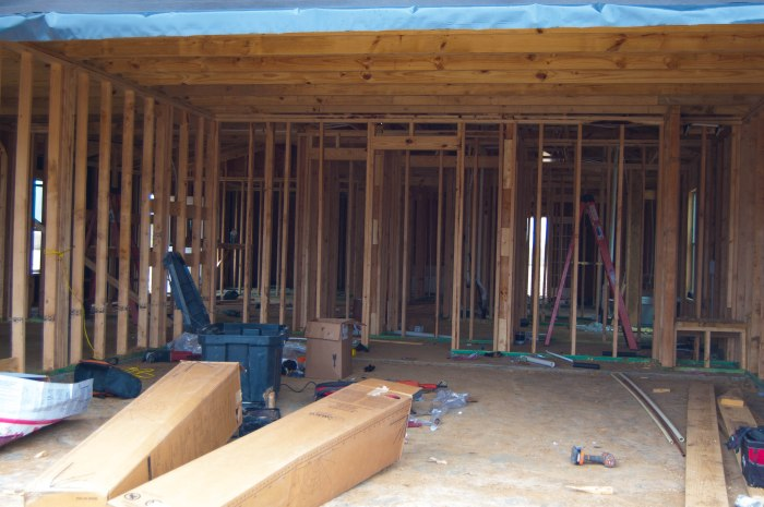 A closer look inside. Soon be walls with doors the define the rooms.
