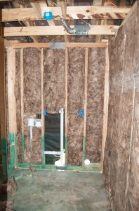 Wall insulation plus some pipes in the laundry room.