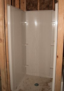 A separate shower in the master bathroom.