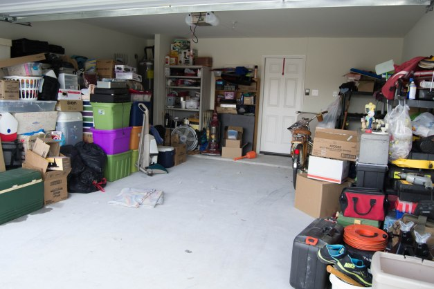 A garage full of belongings